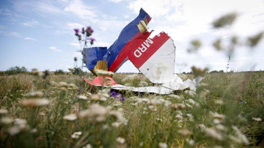 A part of the wreckage of Malaysia Airlines Flight MH17 is seen at its crash site, near the village of Hrabove, Donetsk region, July 20, 2014.