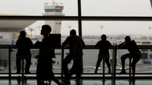 Passengers at Israel's Ben Gurion International Airport, Israel.