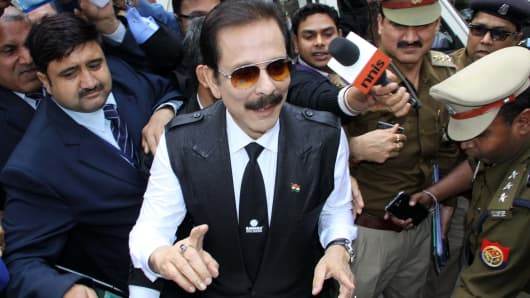 Sahara Chairman Subrata Roy arrives at the Supreme Court in New Delhi, India.