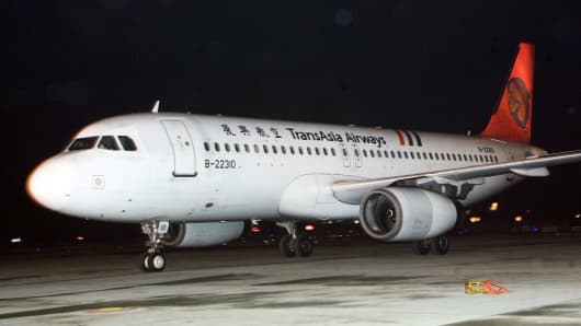 A stock photograph of a TransAsia Airways jet in Shanghai.