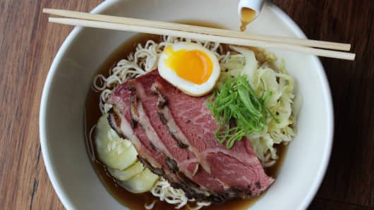 "A proposed dish for Rooster Soup Co.: ""Pastramen"" with soy-spiked double chicken broth, short rib pastrami, pickles, rye noodles and a soft-boiled egg."