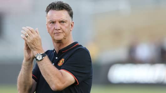 Manchester United manager Louis van Gaal is shown during an open training session as part of the team's pre-season tour to the U.S., at the Rose Bowl in Pasadena, Calif.