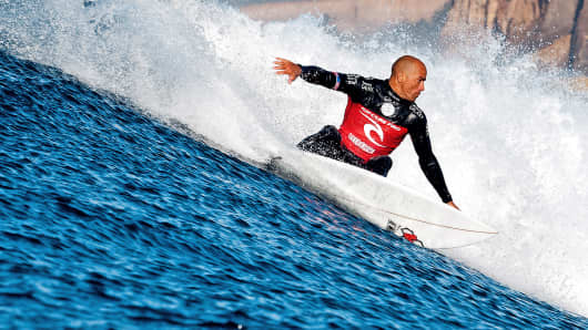 Kelly Slater, of the U.S., competes in the Rip Curl Pro Bells Beach in Bells Beach, Australia.