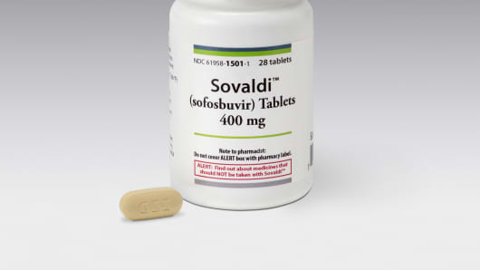 Hepatitis-C medication Sovaldi is shown in this photo.