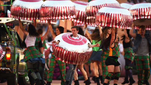 Dancers dressed as Tunnock's teacakes perform during the 2014 Commonwealth Games Opening Ceremony