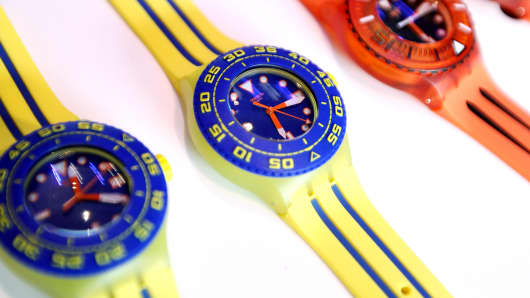 Swatch watches are displayed at the launch of the Scuba Libre collection in New York.
