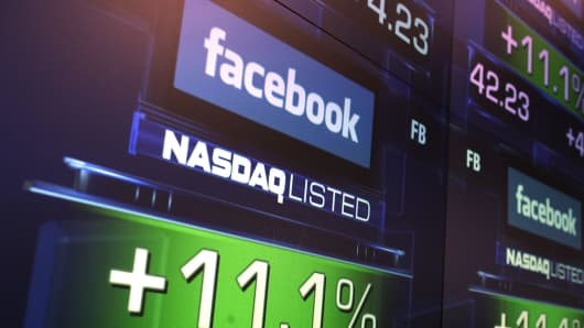 The share price of Facebook stock is seen at the Nasdaq stock market in New York.