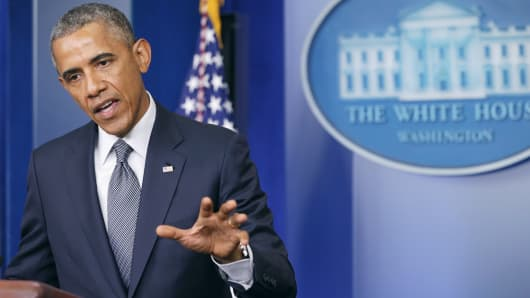 President Obama speaks in the Brady Press Briefing Room of the White House in Washington, D.C.
