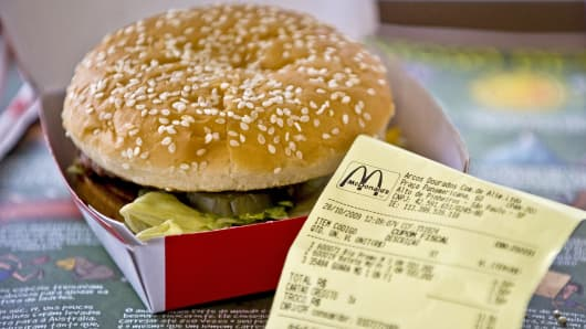 A Big Mac hamburger is shown at a McDonald's restaurant in Sao Paulo, Brazil.