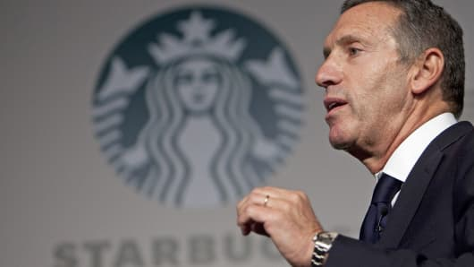 Starbucks CEO Howard Schultz speaks during a media event in Beijing.