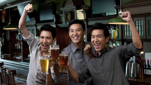 Premium Chinese beer drinkers