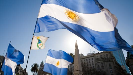 Argentine flags at the Plaza de Mayo, in Buenos Aires.