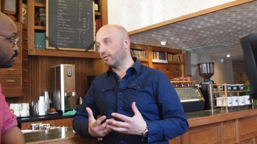 "James Simmons, coffee educator at Stumptown coffee and Joe Bastianich of CNBC's ""Restaurant Startup."""