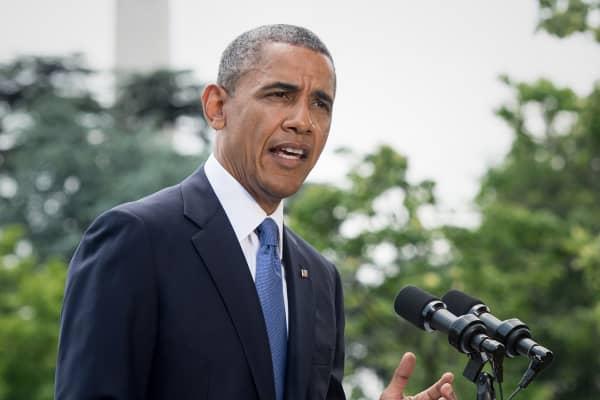 Barack Obama speaking at the White House