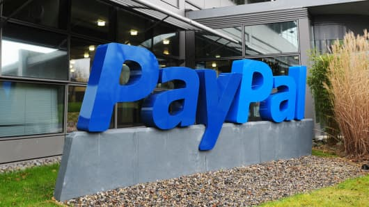 Signage for PayPal outside the company's offices in Dubin, Ireland.
