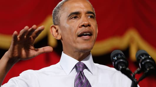 President Barack Obama speaks at the Uptown Theater in Kansas City, July 30, 2014.