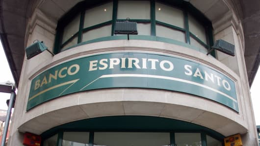 The Portuguese bank Espirito Santo, in Barcelona, Spain.