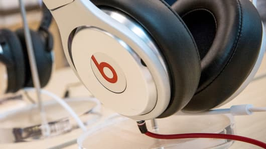 Beats headphones are sold in an Apple store in New York.
