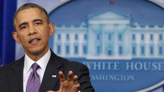 President Barack Obama delivers remarks in the Brady Press Briefing Room.