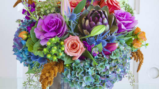 A flower arrangement ordered through BloomNation.