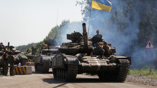 Ukrainian troops patrol near the eastern Ukrainian city of Debaltseve in the Donetsk region, Ukraine.