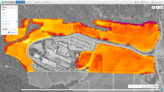 Thermal image of the Francis Ford Coppola Winery.