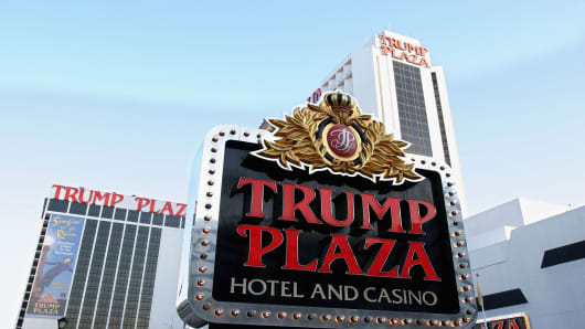 A sign marks the Trump Plaza Hotel and Casino in Atlantic City.