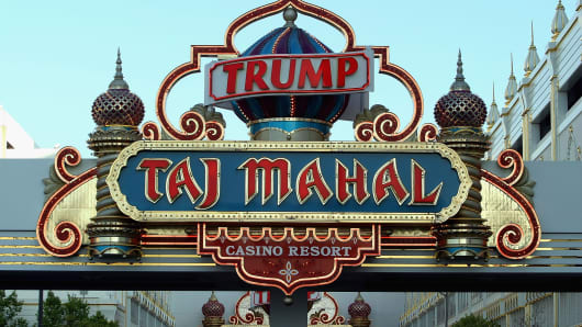 A sign marks the Trump Taj Mahal Hotel and Casino in Atlantic City.