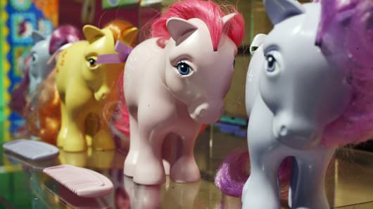 The original My Little Pony characters, on display at the International Toy Fair in New York City