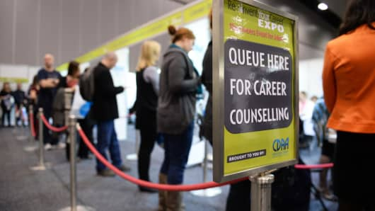 Jobseekers wait in line for the career counseling services offered by the Career Development Association of Australia in Melbourne, Australia.