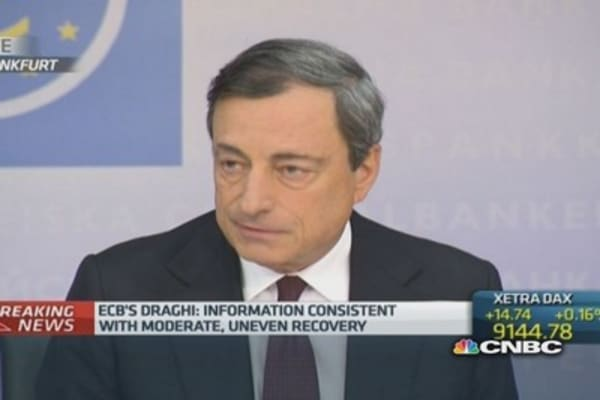 Euro zone recovery 'moderate and uneven': Draghi