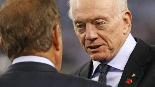 Dallas Cowboys owner Jerry Jones is shown prior to a game between the Cowboys and the Philadelphia Eagles in Arlington, Texas.