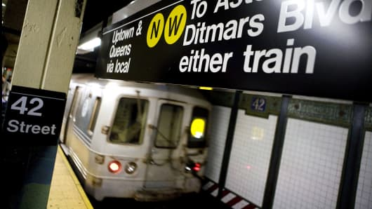 A train leaves the 42nd Street subway station in New York.