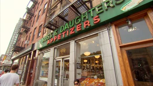"Russ and Daughters ""appetizing shop"" on E. Houston Street."