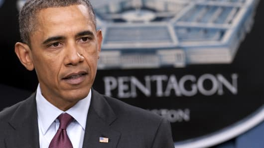 President Barack Obama speaks during a press briefing at the Pentagon in Washington.