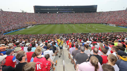 Manchester United plays Real Madrid during a exhibition soccer match at Michigan Stadium in Ann Arbor, Mich., August 2, 2014.