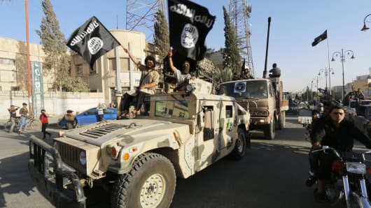 ISIS fighters on parade