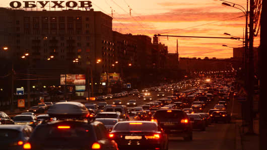 Rush hour traffic jams Ukrainian Avenue in Moscow.