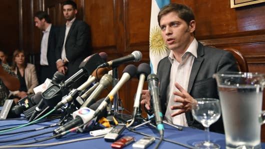 Argentina's Economy Minister Axel Kicillof speaks during a press conference at the Argentina consulate in New York.