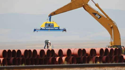 Pipe is stacked for use in a Kinder Morgan pipeline near Laramie, Wyoming.