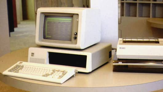 This is an undated file photo of The original IBM 5150 PC.
