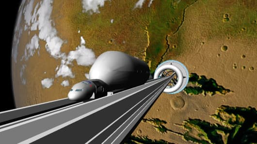 A NASA rendering for a space elevator of the future.