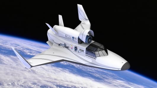 XCOR Aerospace's rendering of its Lynx Mark III, a reusable space vehicle that will take off from a conventional runway