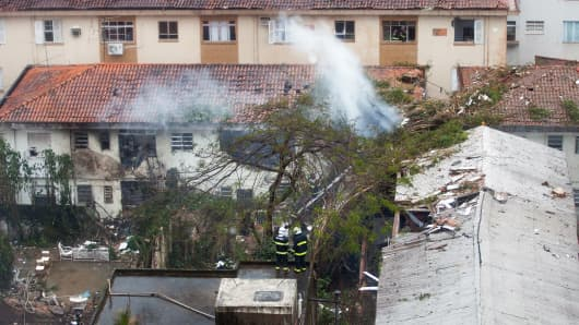 Crash site of the aircraft carrying the presidential candidate Eduardo Campos in Santos, Brazil, on August 13, 2014.