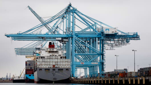 A container ship at the Port of Los Angeles in San Pedro, Calif.