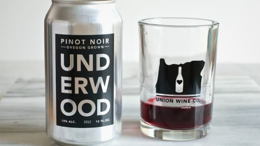 Oregon-based Union Wine Company offers pinot noir in beer-like aluminum cans.