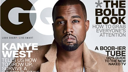 Kanye West on the cover of the August 2014 issue of GQ Magazine.