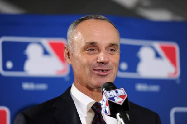 Rob Manfred speaks at a press conference after being elected by team owners to be the next commissioner of Major League Baseball.