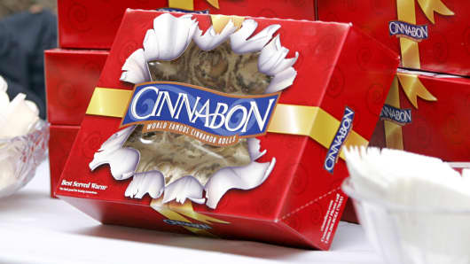 Boxes of Cinnabons are displayed at the Golden Globe Hollywood Buffet in Los Angeles.