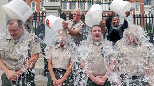 Massachusetts Park Rangers take the ALS Ice Bucket Challenge in Boston.